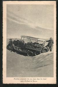 Position amusante des six roues dans les dunes entre Tozeur et El Oued