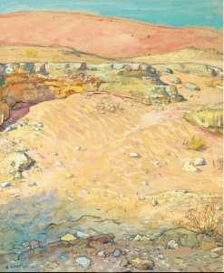 Étienne Dinet - Nasreddine Dinet PAYSAGE DANS LA RÉGION DE BISKRA aquarelle