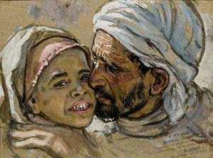 Tendresse Paternelle par Nasreddine Dinet Huile sur papier en bas à droite