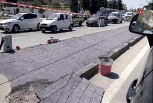 Constantine - Terre-plein du boulevard de la Soummam: Quand le béton remplace la pelouse