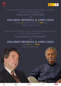 Dialogue littéraire Mendoza Zaoui le : Samedi21avril à l'institut cervantes d'Alger