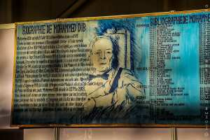 Magnifique fresque retraçant la biographie de Mohamed Dib ainsi que sa bibliographie ...