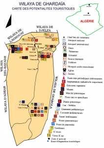 Wilaya de Ghardaïa : carte des potentialités touristiques