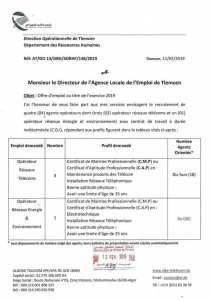 Algerie telecom offre d'emploi au titre de l'exercice 2019