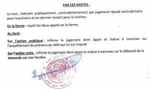 Reponse du Tribunal de Blida au Tribunal de Boufarik