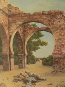 Ancien Tableau Orientaliste Ruines de Tlemcen Algérie Signé R. Lagarde 1940.