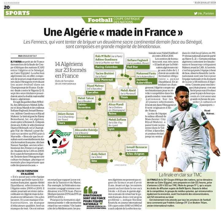 14 sur les 23 joueurs de l'équipe algérienne sont des binationaux formés en France