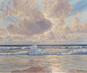 Raoul Frank (1867-1939), Waves Breaking on the Beach on Sylt (1924)