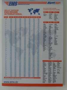 Tarifs EMS (Algérie) Régime national