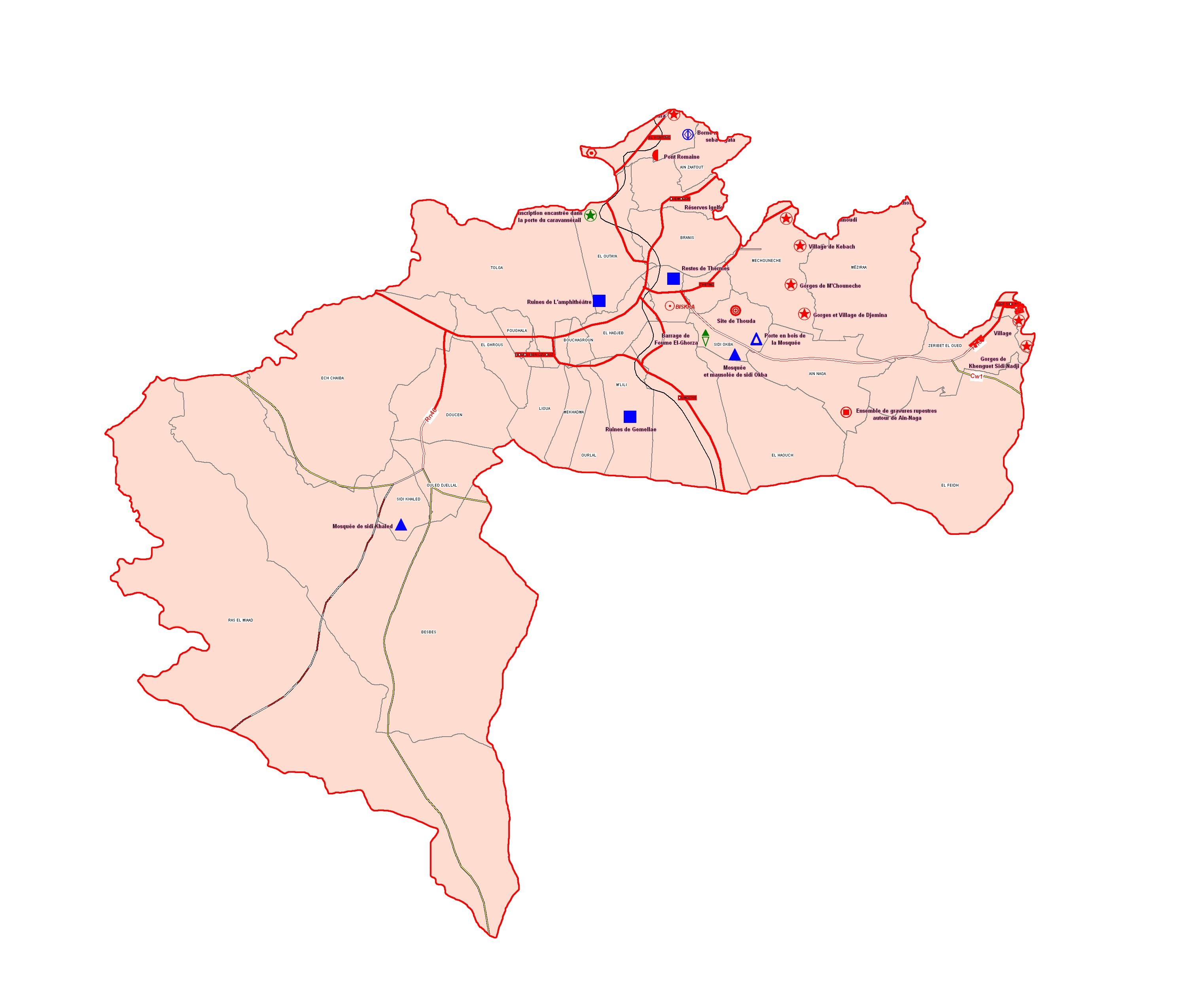 Wilaya de Biskra : Carte des sites et monuments historiques et patrimoine culturel