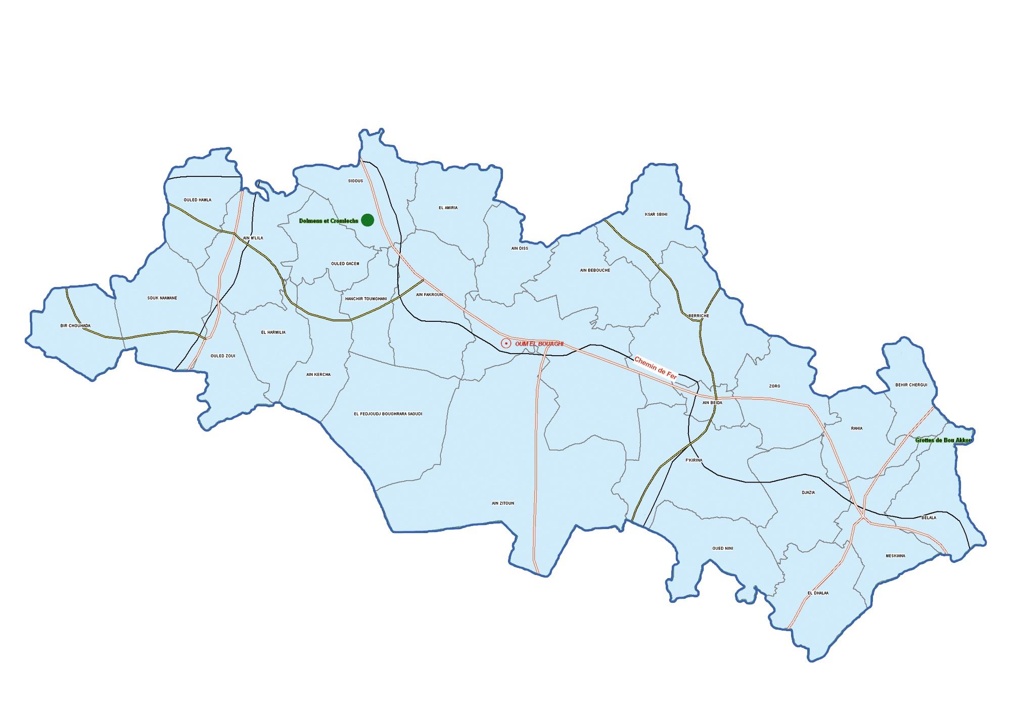 ولاية أم البواقي : خريطة المواقع التاريخية والآثار والتراث الثقافي