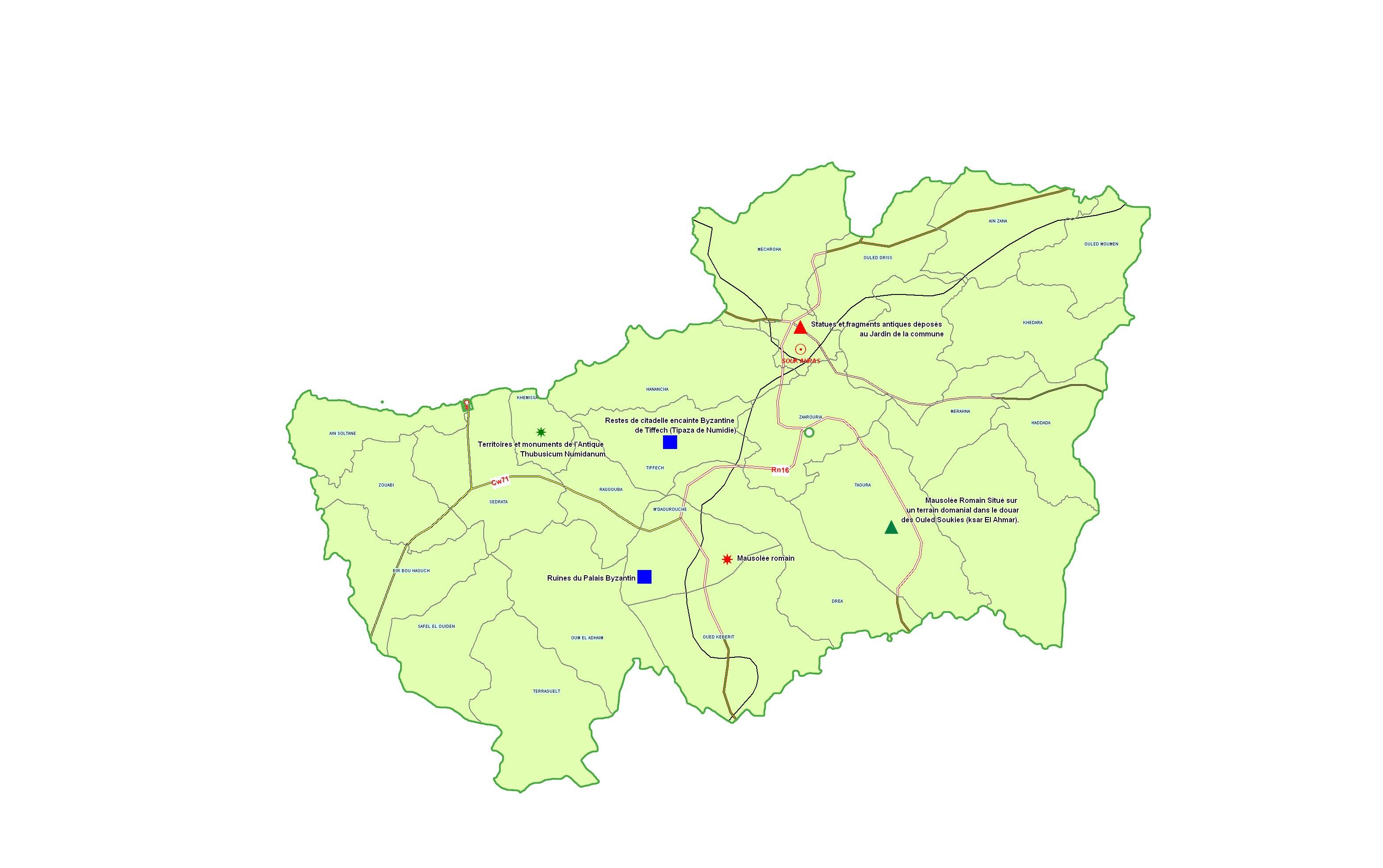 Wilaya de Souk Ahras : Carte des sites et monuments historiques et patrimoine culturel
