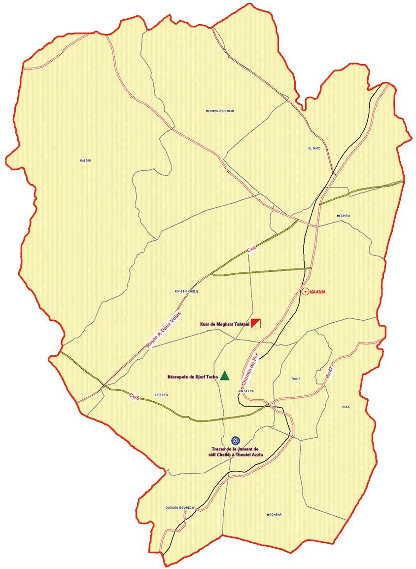 ولاية النعامة : خريطة المواقع التاريخية والآثار والتراث الثقافي
