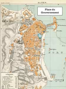 1888 Plan of Algiers, Algeria--Place du Gouvernement region