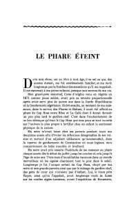 LE PHARE ÉTEINT