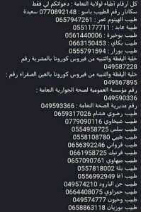 ارقام اطباء ولاية النعامة