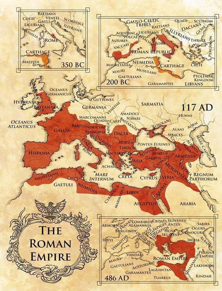 خريطة توضيحية حديثة جداً رُسمت سنة 2019م للإمبرطورية الرومانية من 350 ق.م إلى غاية 486 م