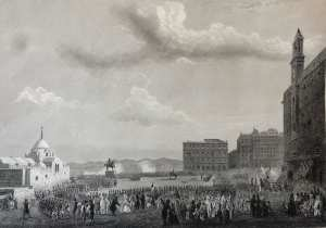 Alger Inauguration de la statue du Duc d'Orléans en 1845 à la place des martyrs