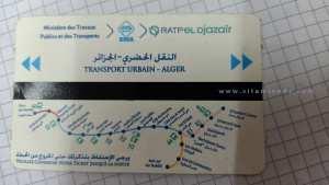 Métro d'Alger : Plan du métro sur un ticket