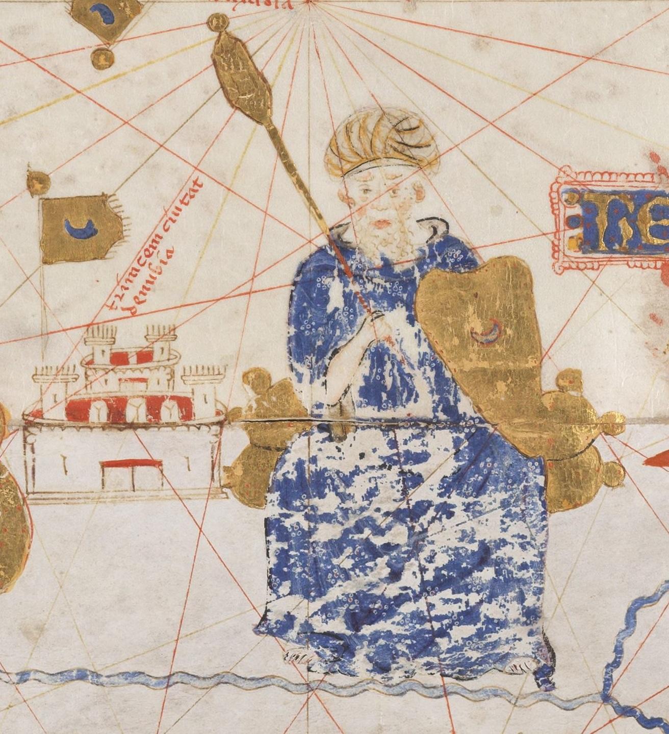 Portrait probable de Yaghmoracen Ibn Ziane sur le portulan de Mecia de Viladestes (pt) (1413, collections de la BnF).
