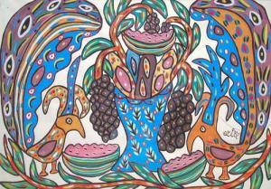 BAYA, Corbeille de fruits et deux oiseaux