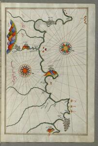 Ancienne Carte g�ographique des c�tes d'Oran � Tlemcen (Dynastie des Zianides)
