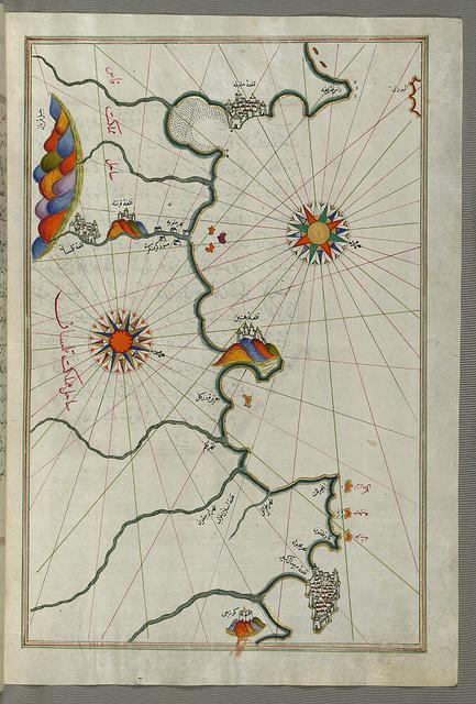 Ancienne Carte géographique des côtes d'Oran à Tlemcen (Dynastie des Zianides)