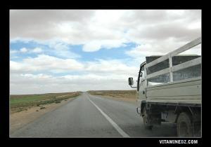 Route vers Ain Oussara, en passant par la commune d'El Khemis