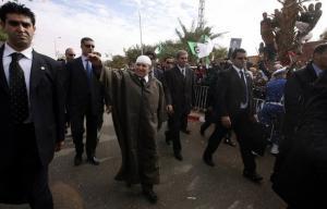 Algeria's President Abdelaziz Bouteflika is surrounded by body guards