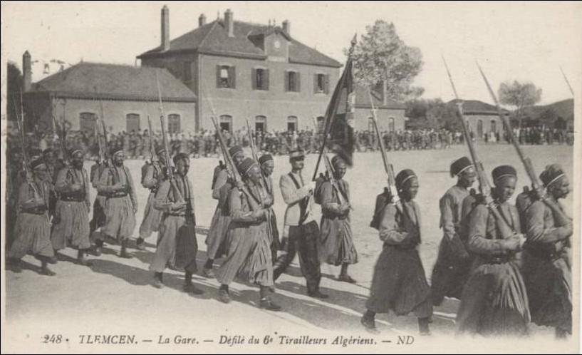 Tirailleurs algériens 7247-tlemcen-la-gare-defile-du-6eme-tirailleurs-algeriens