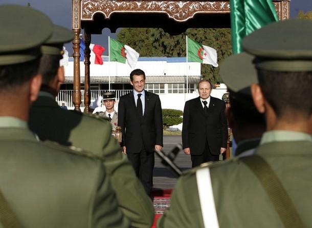France's President Nicolas Sarkozy and his Algerian counterpart Abdelaziz