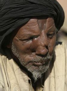 A Sahrawi war veteran attends a demonstration as part