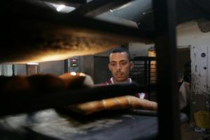 A Sahrawi man works in a bakery at Dakhla's