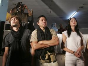 Spanish actors Javier Bardem (L), Carlos Bardem and Dafne