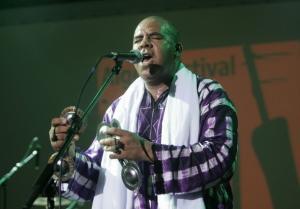 Maalem Madjbar of Algeria performs during the Alger Festival