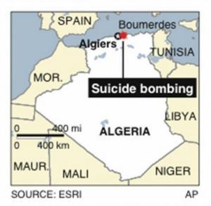 Map locates Boumerdes, Algeria, site of a suicide bombing;