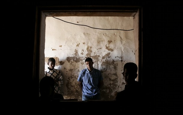 Sahrawi people wait for bread in a bakery at