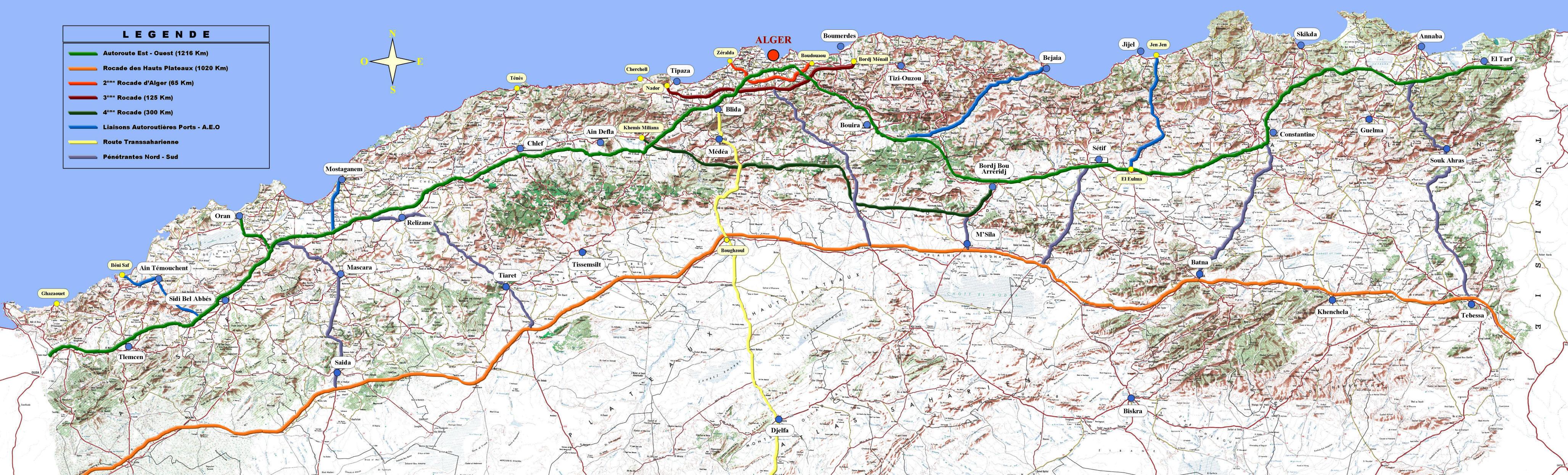 خريطة مشروع الطريق الوطني (شرق ـ غرب)