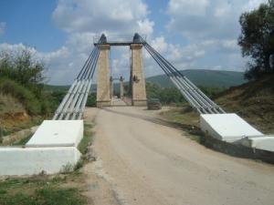 Entrée du pont suspendu de Chihani