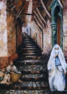 لوحة فنية لحي القصبة بالجزائر العاصمة